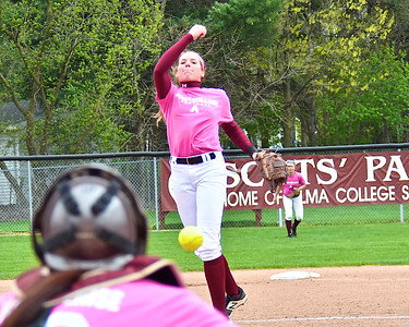 Alma College swept visiting Adrian College in a doubleheader dedicated to the memory of shortstop Riley Terwilliger's mother Denise and kicked off by her father Michael throwing out the first pitch Thursday, April 27, 2017. (Morning Sun photo gallery by Skip Traynor)