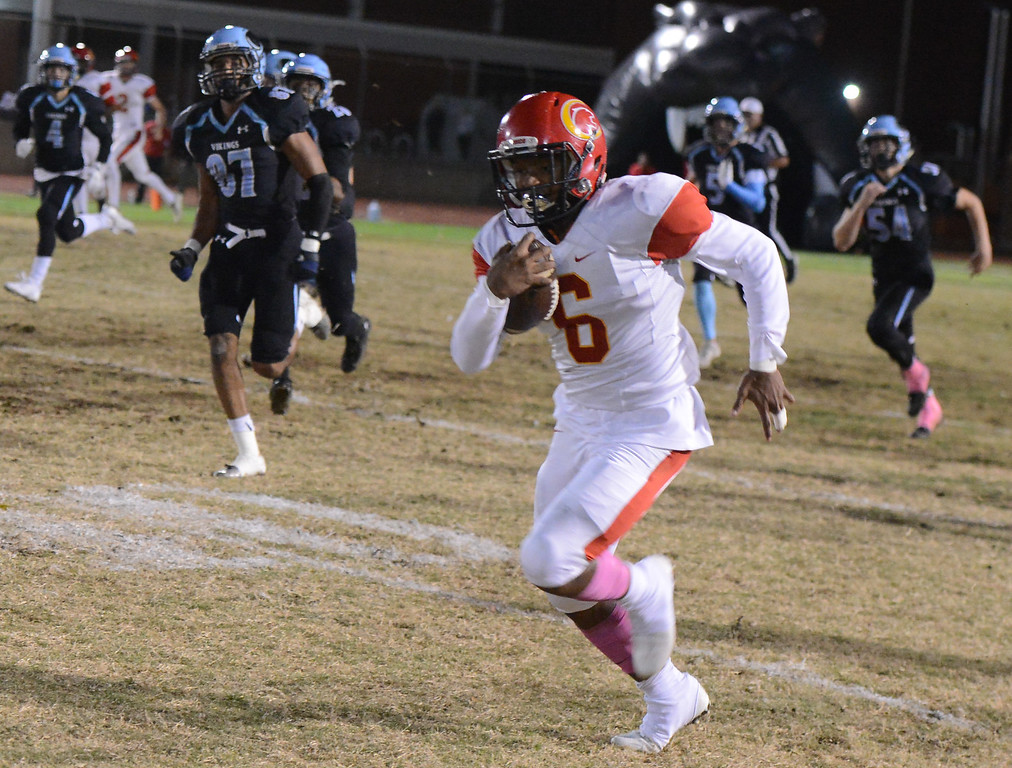 . Chico High\'s Kavon Samuels breaks away for a 79 yard touchdown against Pleasant during the 47th Almond Bowl title Friday October 20, 2017 in Chico, California. (Emily Bertolino -- Enterprise-Record)
