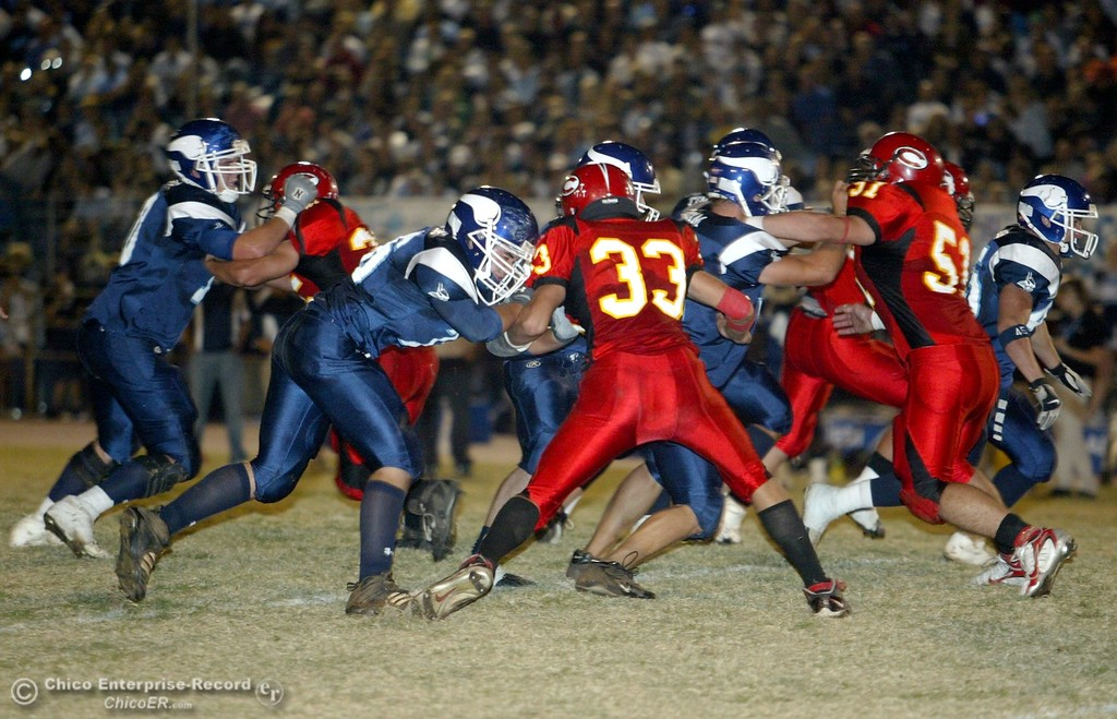 . PV High\'s vs. Chico High with about 5:30 remaining in the first quarter in the 2006 Almond Bowl XXXVI football game at University Stadium Friday night. - halley photo 10/13/06