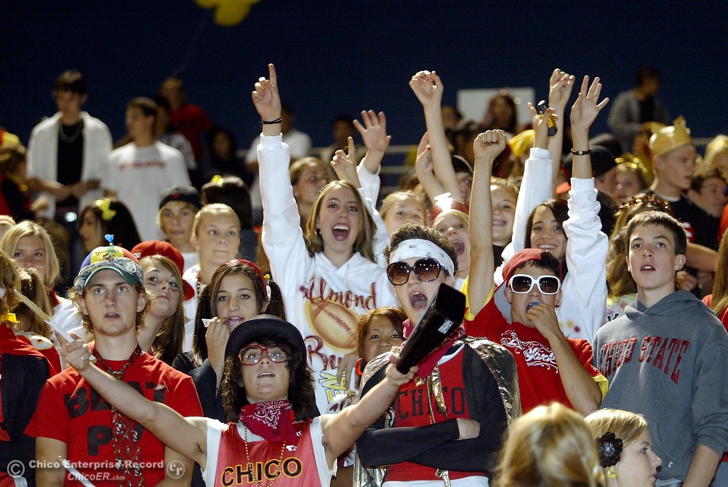 . Chico High Fans cheer against PV High in the 2006 Almond Bowl XXXVI football game at University Stadium Friday night. - halley photo 10/13/06