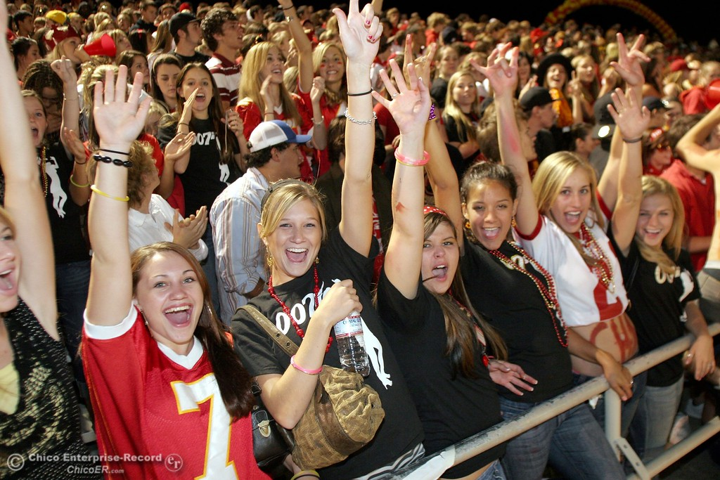. Chico fans cheer against PV High in the 2006 Almond Bowl XXXVI football game at University Stadium Friday night. - halley photo 10/13/06