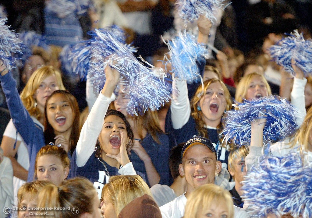. Pleasant Valley High fans cheer on their team against Chico High in the first quarter of their Almond Bowl XXXVII football game at CSUC University Stadium on Friday, October 12, 2007 in Chico, CA.  (Jason Halley/Chico Enterprise-Record)