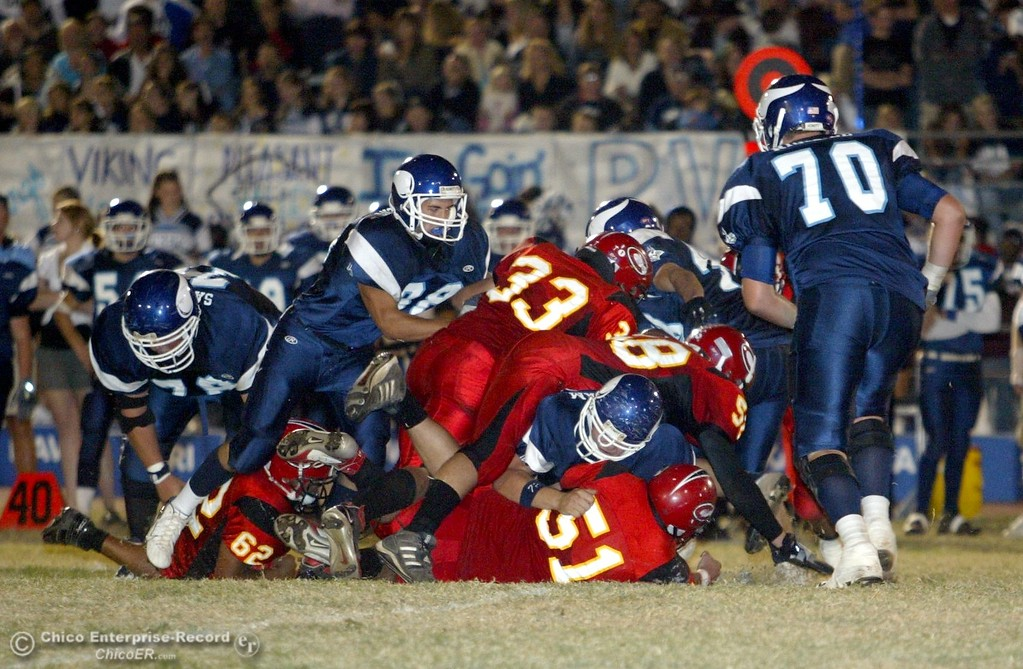 . Chico High\'s vs. PV High with about 8:41 remaining in the second quarter in the 2006 Almond Bowl XXXVI football game at University Stadium Friday night. - halley photo 10/13/06