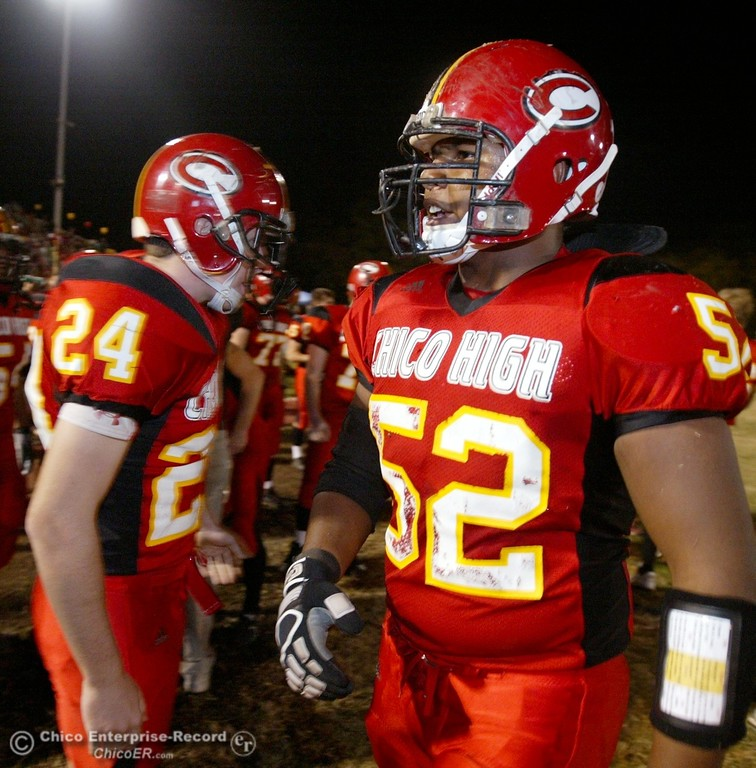 . Chico High\'s #52 Anthony Jones (right) awaits against Pleasant Valley High in the first quarter of their 2008 Almond Bowl Football game Friday, October 17, 2008 at CSUC University Stadium in Chico, CA. 