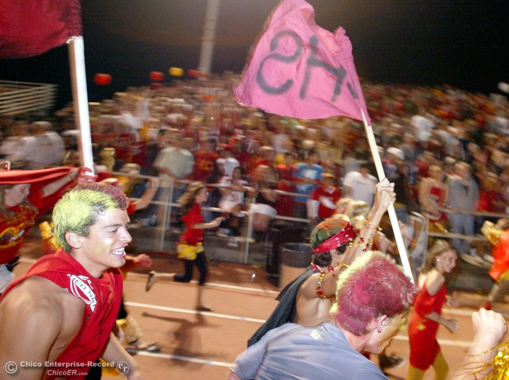. Chico High fans cheer against Pleasant Valley High in the first quarter of their 2008 Almond Bowl Football game Friday, October 17, 2008 at CSUC University Stadium in Chico, CA. 