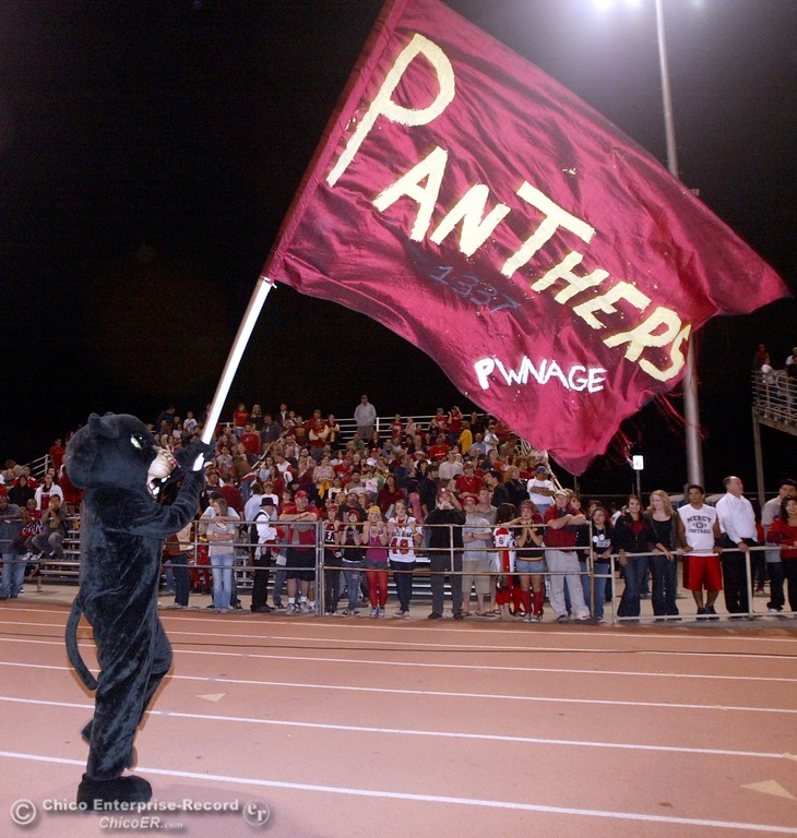 . Chico High mascot waves the flag against Pleasant Valley High in the first quarter of their 2008 Almond Bowl Football game Friday, October 17, 2008 at CSUC University Stadium in Chico, CA. 