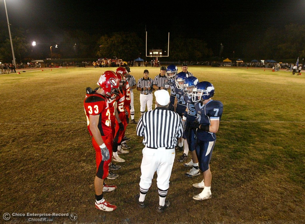 . Chico High and Pleasant Valley High await the coin toss in the first quarter of their 2008 Almond Bowl Football game Friday, October 17, 2008 at CSUC University Stadium in Chico, CA. 