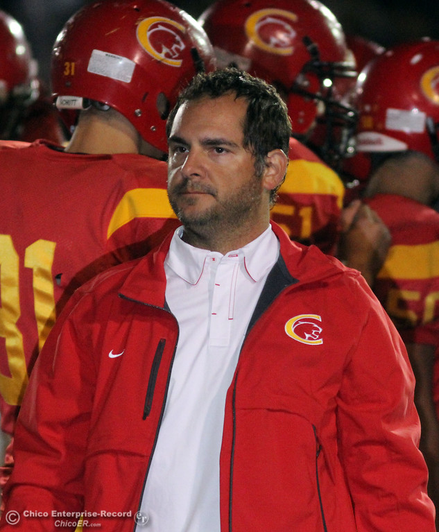 . Pleasant Valley High against Chico High\'s coach Jason Alvister in the first quarter of their Almond Bowl football game at CSUC University Stadium Friday, October 22, 2010 in Chico, Calif.