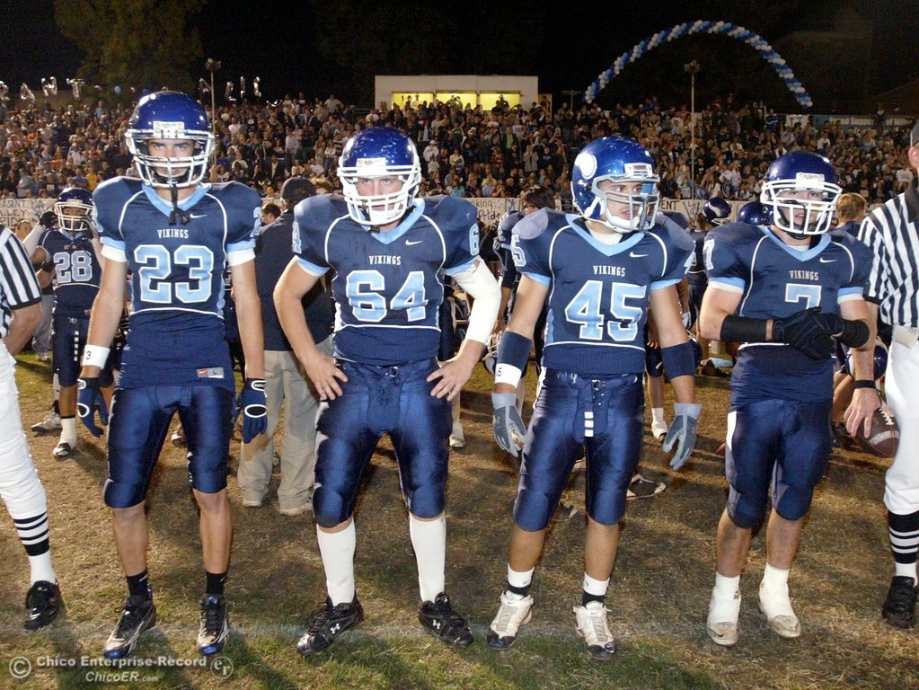 . Chico High against Pleasant Valley High\'s #23 Mycal Swaim, #64 Josh Courtain, #45 Bronson Vitt, and #7 Brandon Nickas (left to right) ready to take the coin toss in the first quarter of their 2008 Almond Bowl Football game Friday, October 17, 2008 at CSUC University Stadium in Chico, CA. 