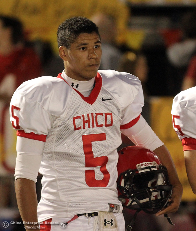. Chico High\'s #5 Trevon Reid against Pleasant Valley High in the first quarter during their Almond Bowl XLI football game at CSUC University Stadium Friday, October 21, 2011 in Chico, Calif. (Jason Halley/Chico Enterprise-Record)