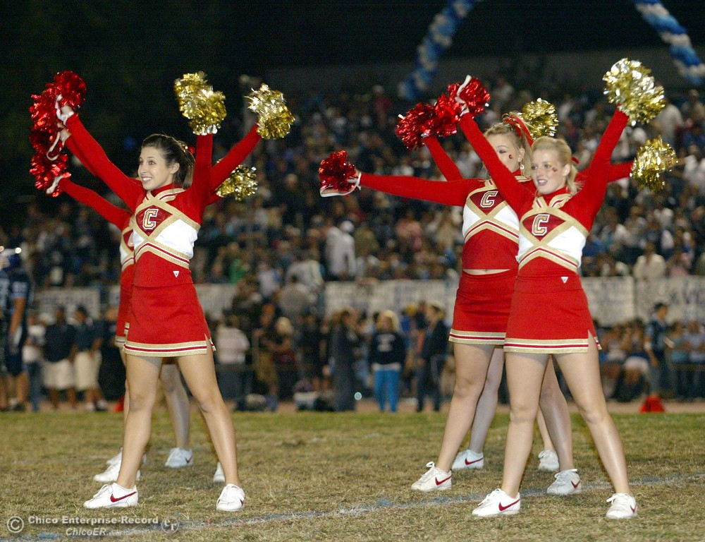 . Chico High cheerleaders against Pleasant Valley High in the first quarter of their 2008 Almond Bowl Football game Friday, October 17, 2008 at CSUC University Stadium in Chico, CA. 