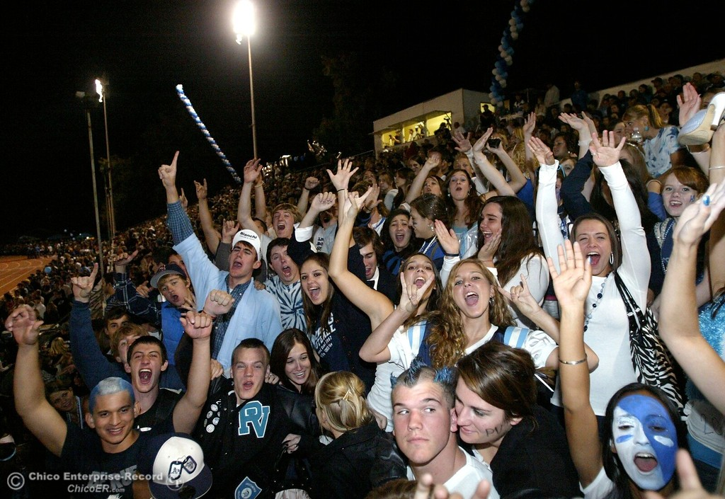 . Chico High against Pleasant Valley High fans cheer in the second quarter of their 2008 Almond Bowl Football game Friday, October 17, 2008 at CSUC University Stadium in Chico, CA. 