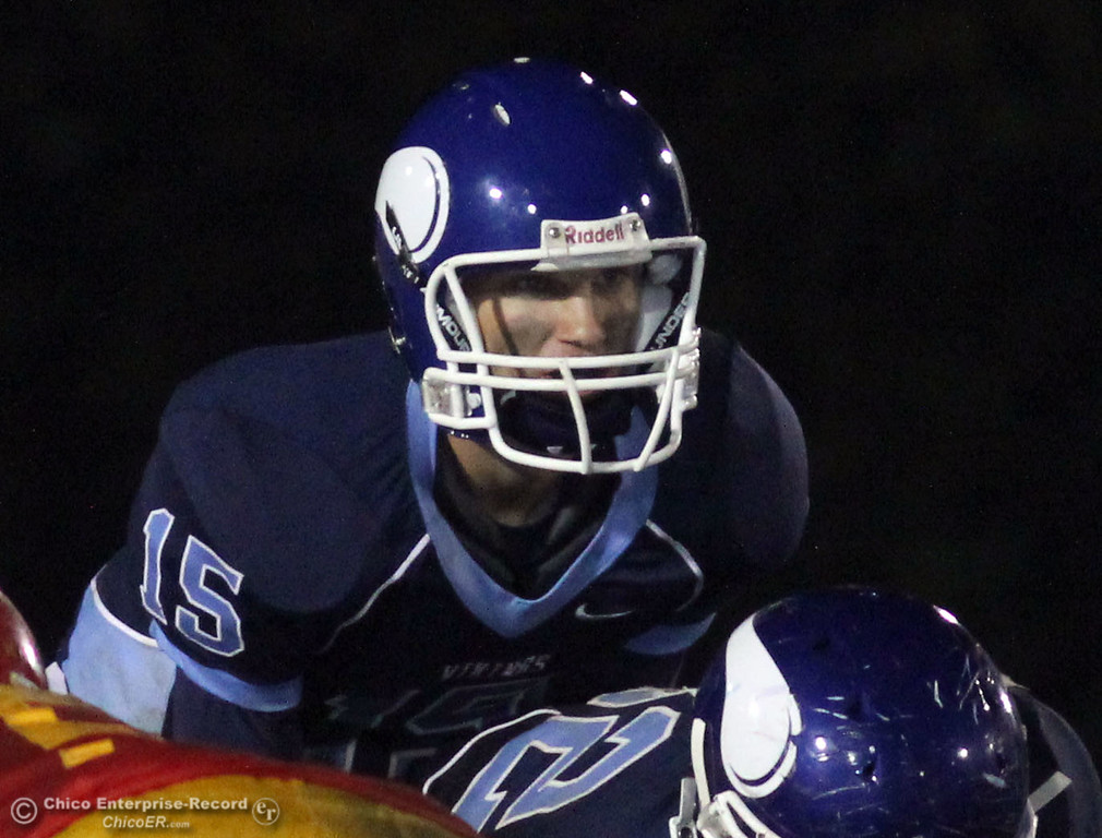 . Pleasant Valley High\'s #15 Will Christensen against Chico High in the second quarter of their Almond Bowl football game at CSUC University Stadium Friday, October 22, 2010 in Chico, Calif.