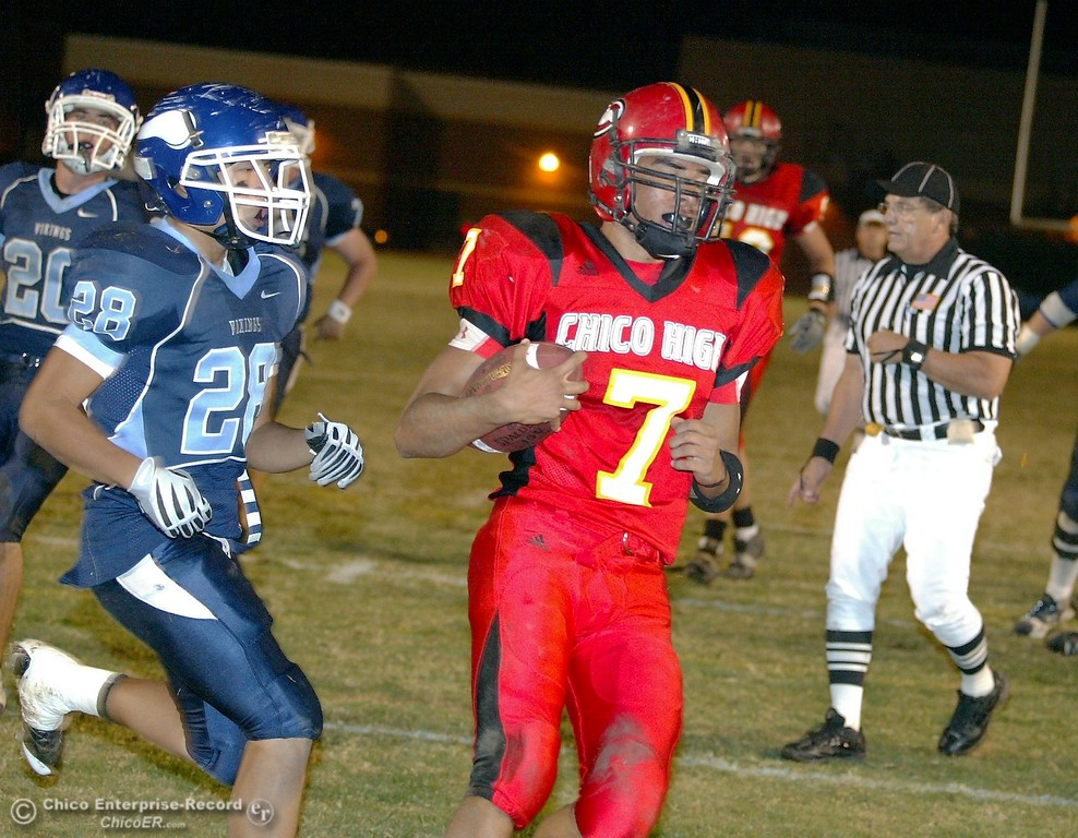 . Chico High\'s #7 Nate Anderson (right) rushes in for a touchdown against Pleasant Valley High in the second quarter of their 2008 Almond Bowl Football game Friday, October 17, 2008 at CSUC University Stadium in Chico, CA. 