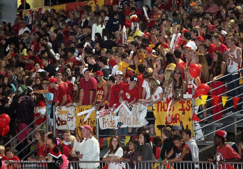 . Chico High fans against Pleasant Valley High in the first quarter during their Almond Bowl XLI football game at CSUC University Stadium Friday, October 21, 2011 in Chico, Calif. (Jason Halley/Chico Enterprise-Record)