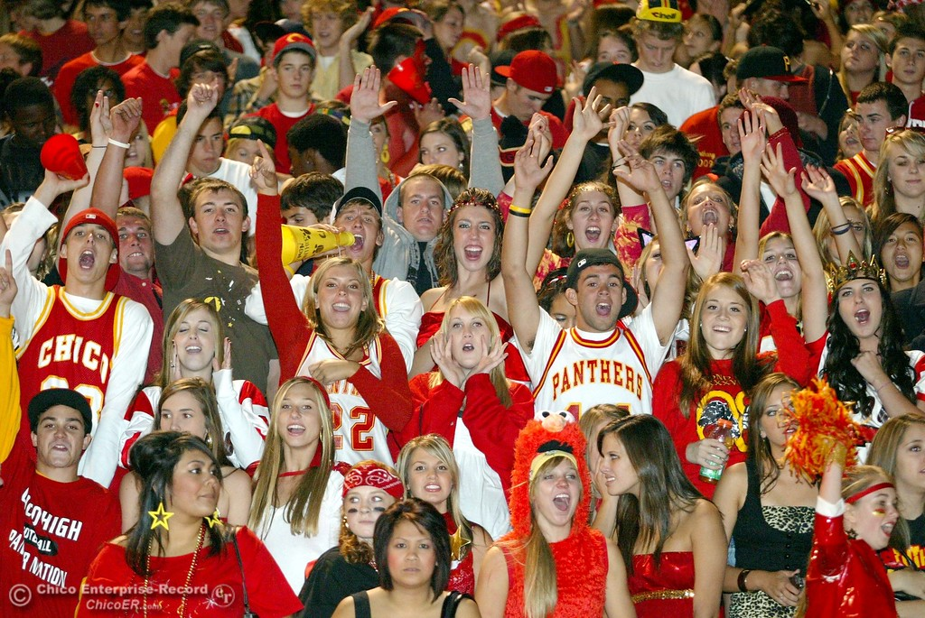. Chico High fans cheer against Pleasant Valley High in the second quarter of their 2008 Almond Bowl Football game Friday, October 17, 2008 at CSUC University Stadium in Chico, CA. 