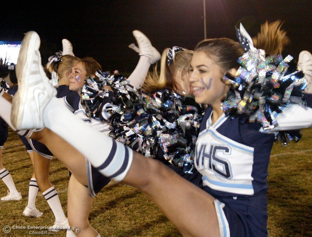 . Chico High against Pleasant Valley High cheerleaders in the first quarter of their 2008 Almond Bowl Football game Friday, October 17, 2008 at CSUC University Stadium in Chico, CA. 