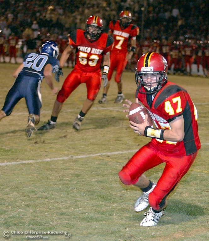 . Chico High\'s #47 Ian Boyer (right) rushes in for a two-point conversion against Pleasant Valley High in the second quarter of their 2008 Almond Bowl Football game Friday, October 17, 2008 at CSUC University Stadium in Chico, CA. 