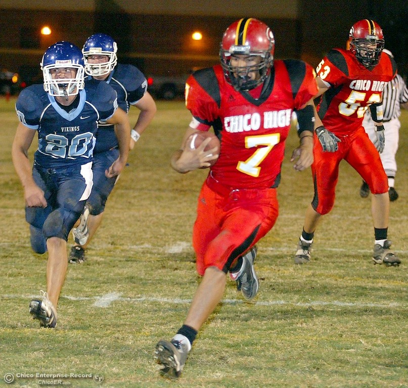 . Chico High\'s #7 Nate Anderson (right) rushes in for a touchdown against Pleasant Valley High in the first quarter of their 2008 Almond Bowl Football game Friday, October 17, 2008 at CSUC University Stadium in Chico, CA. 