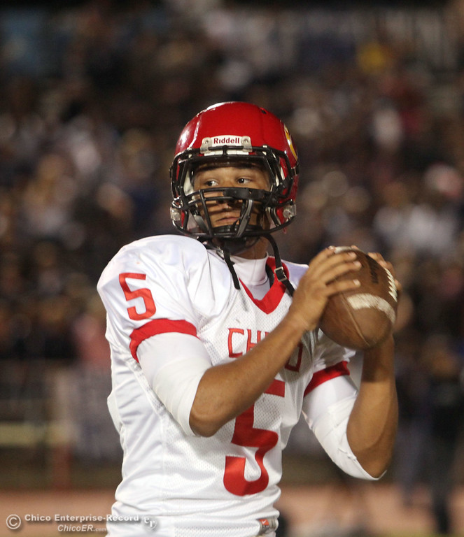 . Chico High\'s #5 Trevon Reid readies against Pleasant Valley High before the first quarter during their Almond Bowl XLI football game at CSUC University Stadium Friday, October 21, 2011 in Chico, Calif. (Jason Halley/Chico Enterprise-Record)