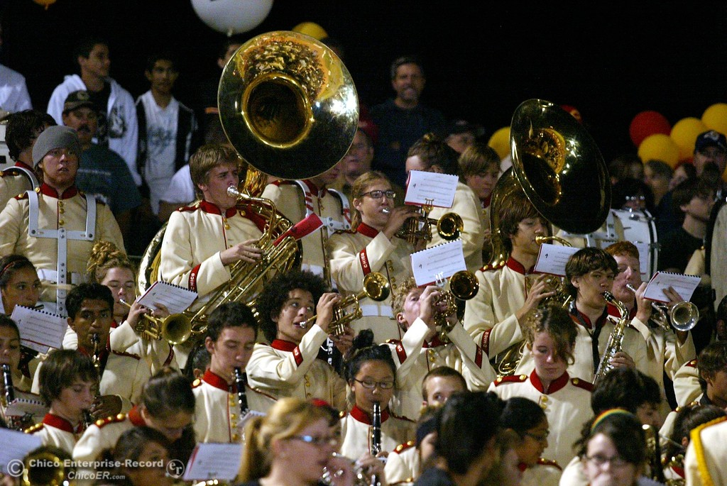 . Chico High band against Pleasant Valley High in the first quarter of their 2008 Almond Bowl Football game Friday, October 17, 2008 at CSUC University Stadium in Chico, CA. 