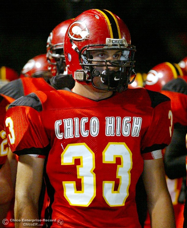 . Chico High\'s #33 Kayhan Karatekeli against Pleasant Valley High in the first quarter of their 2008 Almond Bowl Football game Friday, October 17, 2008 at CSUC University Stadium in Chico, CA. 