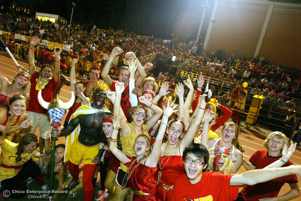 . Fans of Chico High cheers against Pleasant Valley High in the first quarter of their Almond Bowl football game at CSUC University Stadium Friday, October 16, 2009 in Chico, Calif. (Jason Halley/Chico Enterprise-Record)