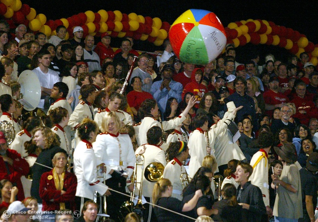 . Chico High band enjoys a beach ball against Pleasant Valley High in the first quarter of their 2008 Almond Bowl Football game Friday, October 17, 2008 at CSUC University Stadium in Chico, CA. 