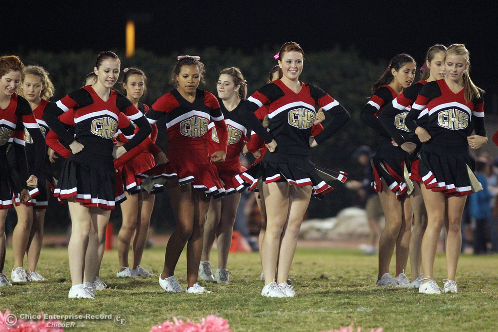 . Chico High cheerleaders against Pleasant Valley High in the second quarter during their Almond Bowl XLI football game at CSUC University Stadium Friday, October 21, 2011 in Chico, Calif. (Jason Halley/Chico Enterprise-Record)