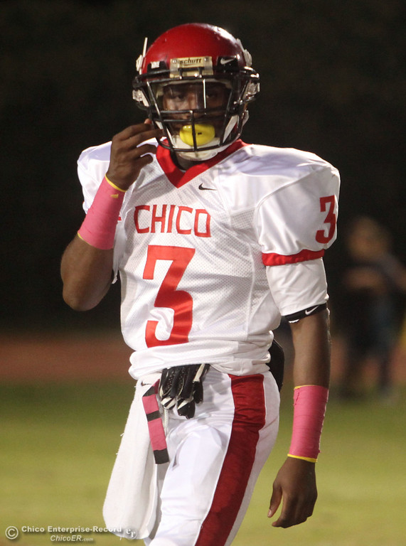 . Chico High\'s #3 Vince Allen readies against Pleasant Valley High before the first quarter during their Almond Bowl XLI football game at CSUC University Stadium Friday, October 21, 2011 in Chico, Calif. (Jason Halley/Chico Enterprise-Record)