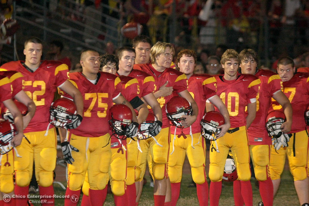 . Chico High against Pleasant Valley High at the national anthem before the first quarter of their Almond Bowl football game at CSUC University Stadium Friday, October 16, 2009 in Chico, Calif. (Jason Halley/Chico Enterprise-Record)
