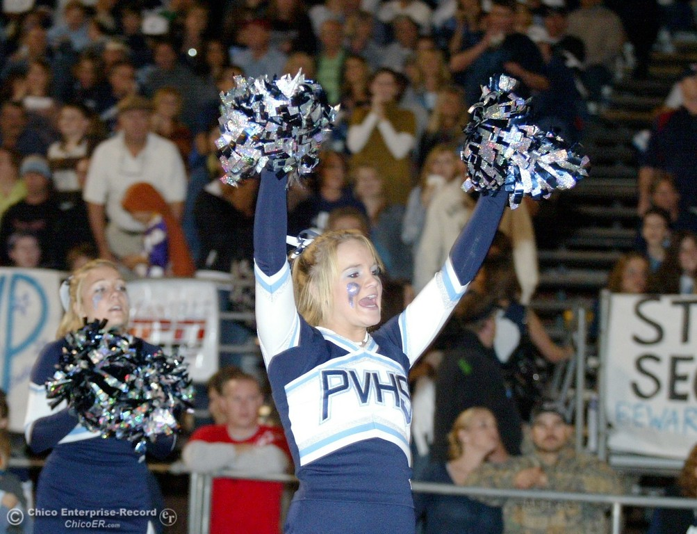 . Chico High against Pleasant Valley High cheerleader in the first quarter of their 2008 Almond Bowl Football game Friday, October 17, 2008 at CSUC University Stadium in Chico, CA. 