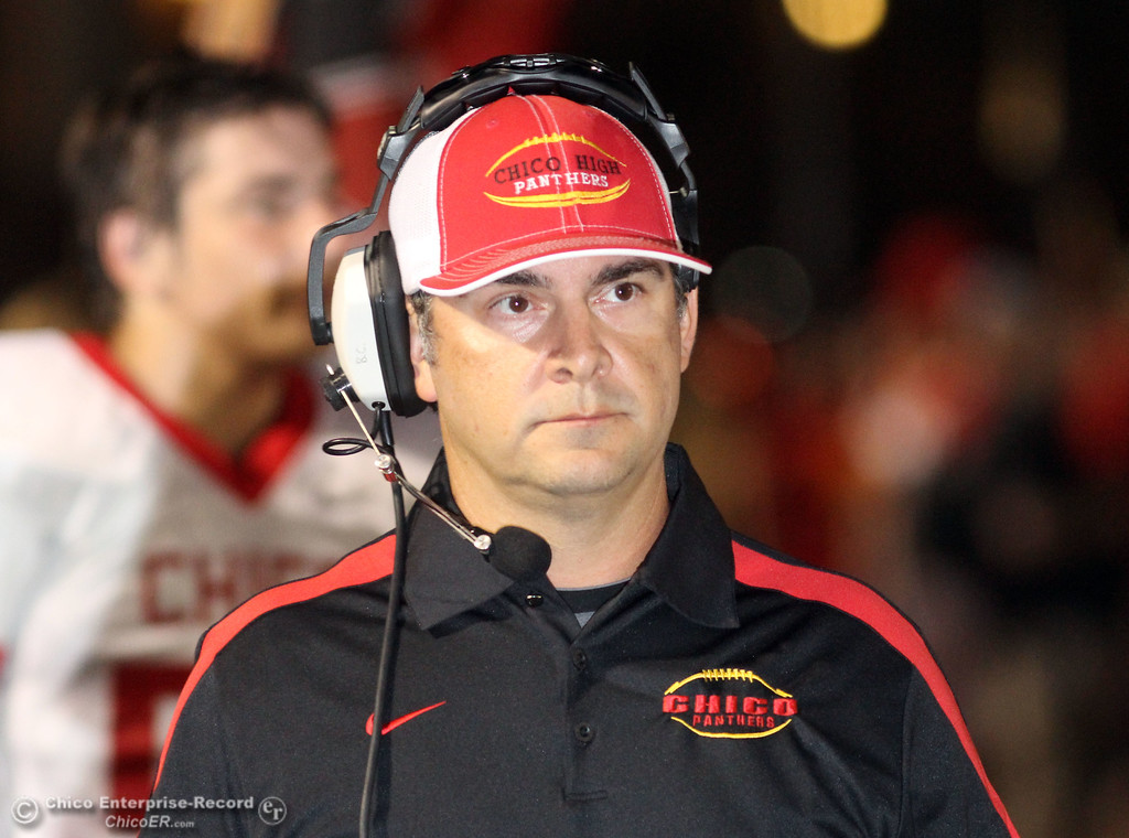 . Chico High head coach Jason Alvistur against Pleasant Valley High in the first quarter during their Almond Bowl XLI football game at CSUC University Stadium Friday, October 21, 2011 in Chico, Calif. (Jason Halley/Chico Enterprise-Record)