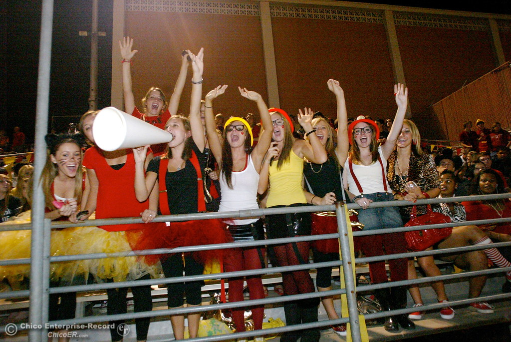 . Chico High fans cheer against Pleasant Valley High in the first quarter of their Almond Bowl football game at CSUC University Stadium Friday, October 16, 2009 in Chico, Calif.