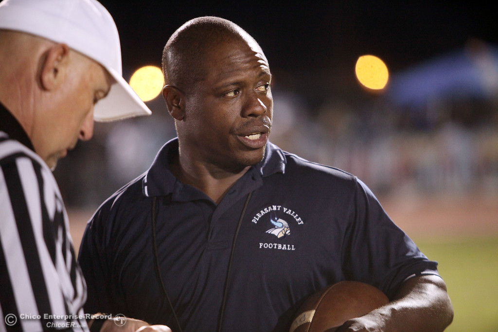 . Pleasant Valley head coach Sterling Jackson against Chico High before the first quarter during their Almond Bowl XLI football game at CSUC University Stadium Friday, October 21, 2011 in Chico, Calif. (Jason Halley/Chico Enterprise-Record)