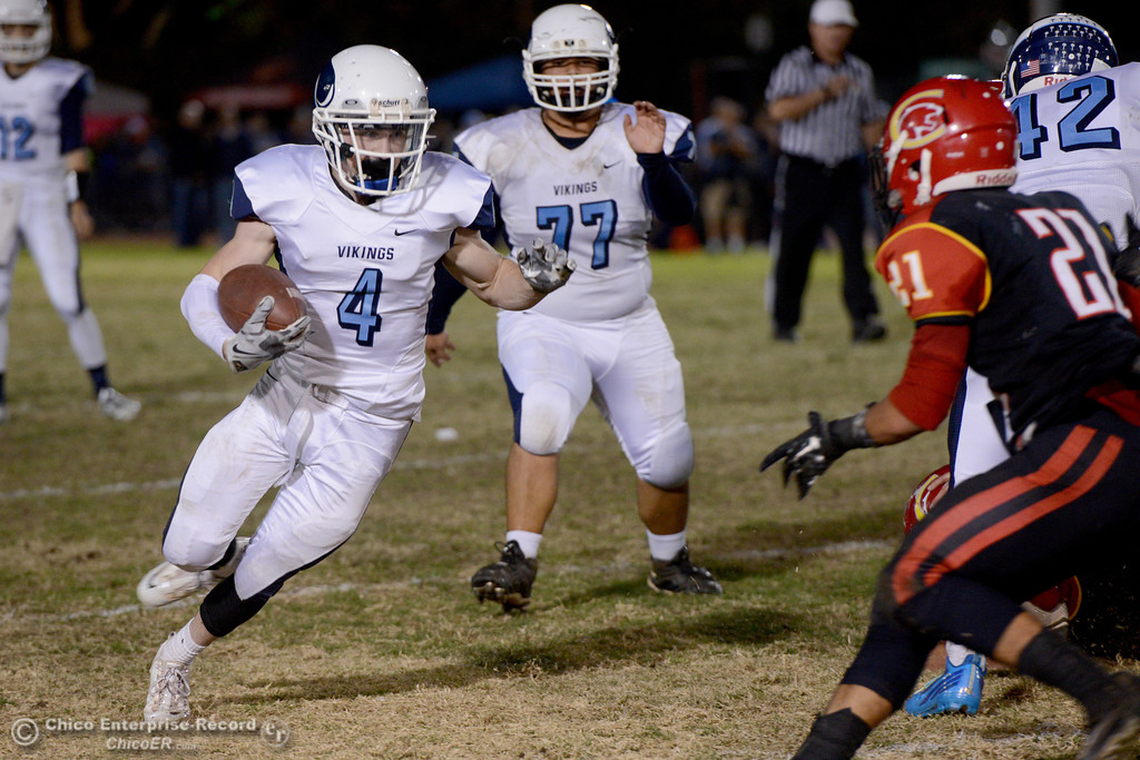 . Cyland Leitner (4) runs with the ball during the Almond Bowl at University Stadium in Chico, California. (Dan Reidel -- Enterprise-Record)