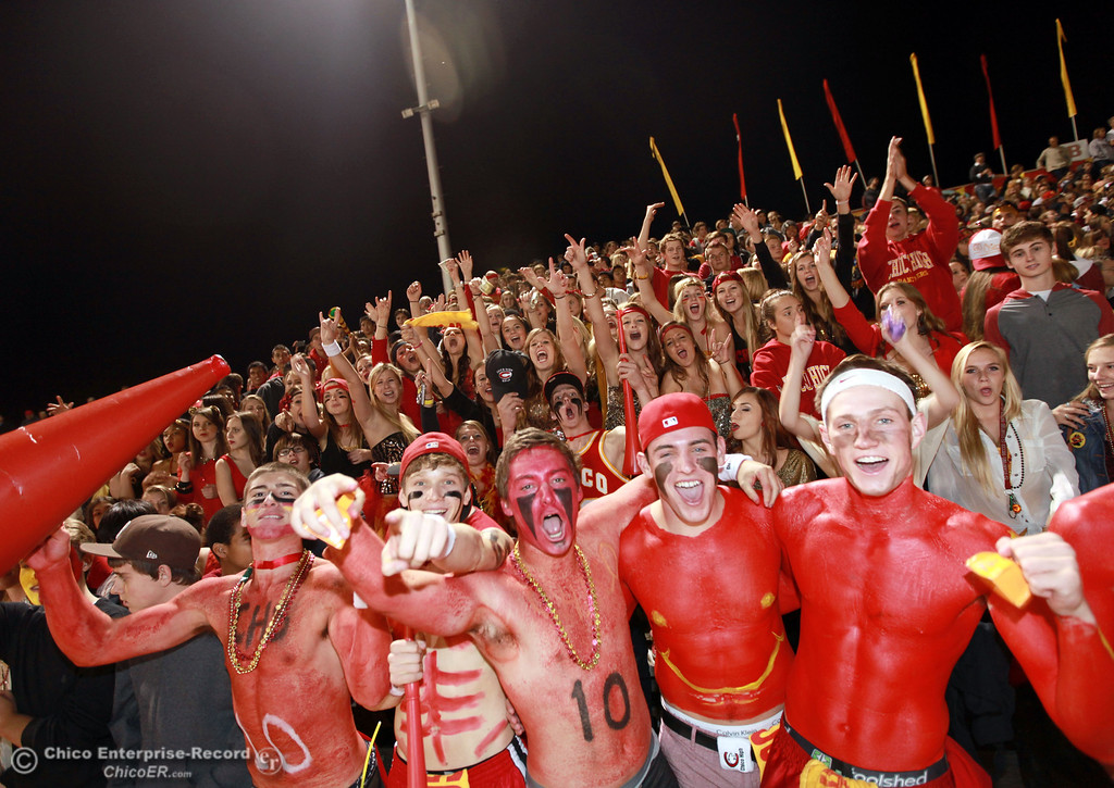 . Chico High fans Tony Bondurant, Tanner Binsfield, Ben Nokleby, Clayton Schuler, Morey Marshall, (front row, left to right) cheer on the team against Pleasant Valley High in the second quarter of their Almond Bowl football game at CSUC University Stadium Friday, October 26, 2012 in Chico, Calif. (Jason Halley /Chico Enterprise-Record)
