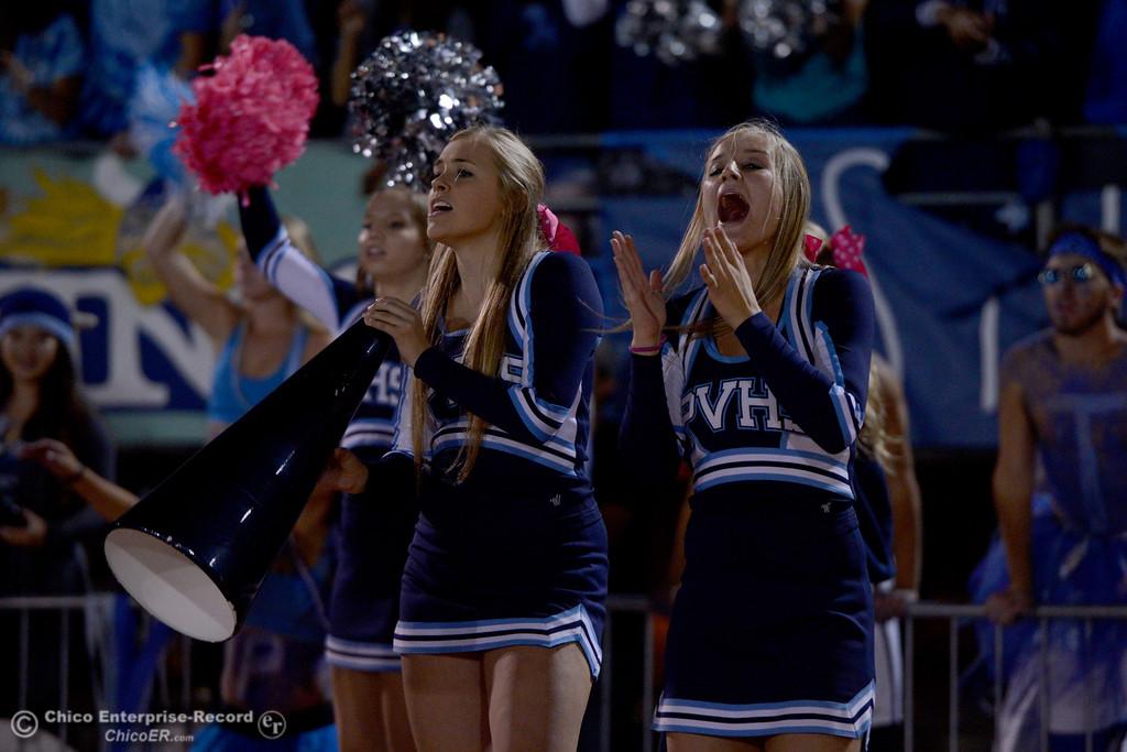 . Pleasant Valley cheerleaders scream for the Vikings Friday, Oct. 24, 2014, during the Almond Bowl at University Stadium in Chico, California. (Dan Reidel -- Enterprise-Record)