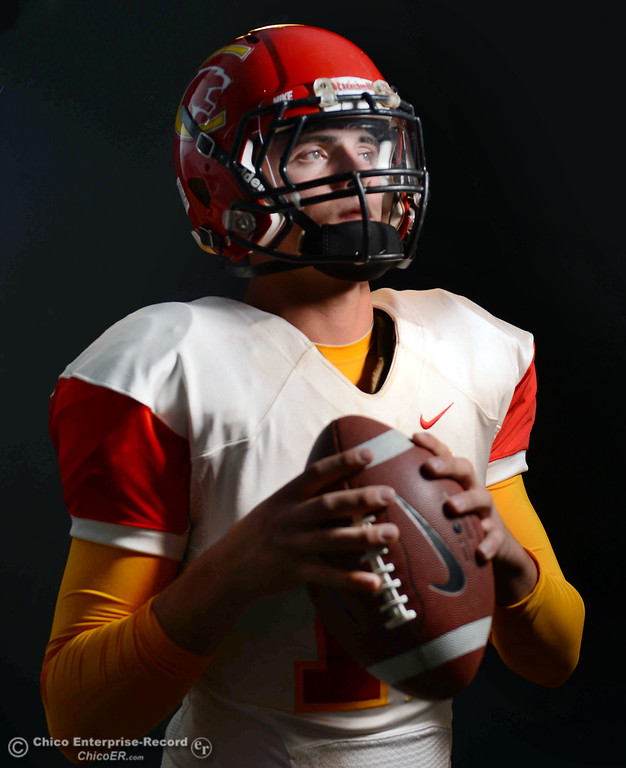 . Chico High\'s Clayton Welch is getting ready for the Almond Bowl during a photoshoot Wednesday, October 23, 2013 in Chico, Calif.  (Jason Halley/Chico Enterprise-Record)