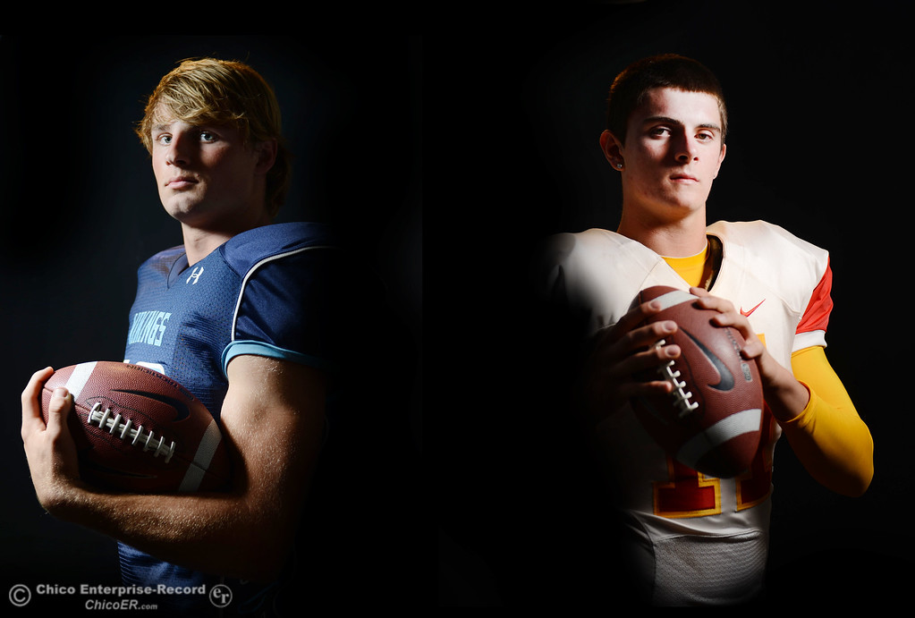 . Pleasant Valley High Chad Olsen and Chico High\'s Clayton Welch are getting ready for the Almond Bowl during a photoshoot Wednesday, October 23, 2013 in Chico, Calif.  (Jason Halley/Chico Enterprise-Record)