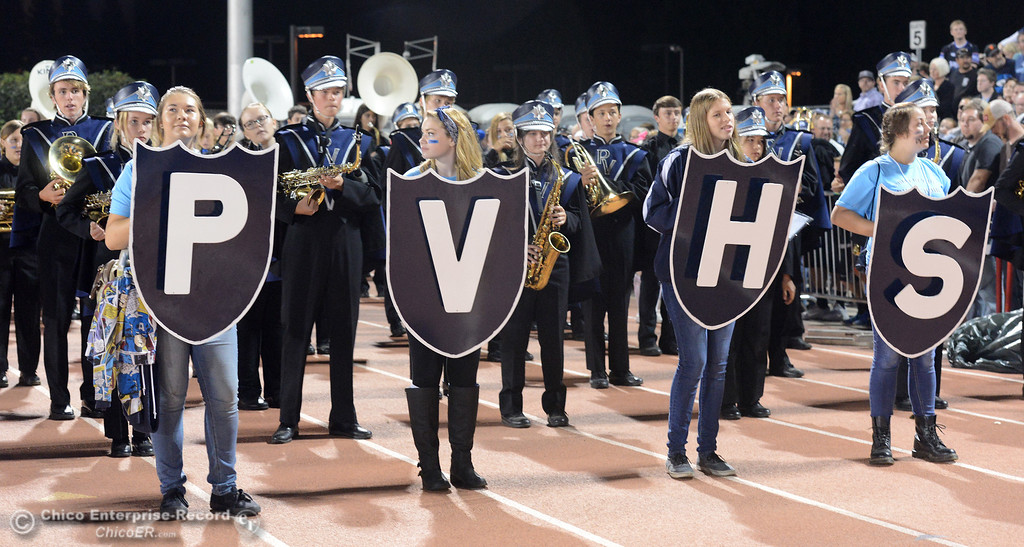 . The Pleasant Valley marching band prepares to move into their designated seats next to the student section Friday, Oct. 23, 2015, during the 45th Almond Bowl between Chico and Pleasant Valley high schools at University Stadium in Chico, California. (Dan Reidel -- Enterprise-Record)