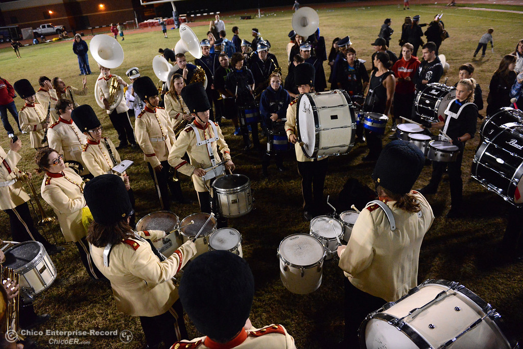 . Members of the Chico and Pleasant Valley marching bands meet after the game for a drum line face-off Friday, Oct. 23, 2015, during the 45th Almond Bowl between Chico and Pleasant Valley high schools at University Stadium in Chico, California. (Dan Reidel -- Enterprise-Record)
