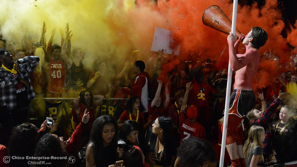 . The Chico High student fan section goes crazy as the game begins Thursday, Oct. 21, 2016, at University Stadium in Chico, California. (Dan Reidel -- Enterprise-Record)