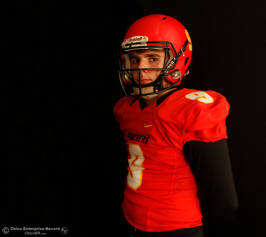 . Chico High\'s quarterback Ty Polonsky at an Almond Bowl preview photoshoot with Chico High and Pleasant Valley October 18, 2016 at the Enterprise-Record office in Chico, California. (Emily Bertolino -- Enterprise-Record)