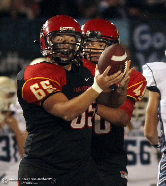 . Chico High\'s #65 Anthony Rodriguez reacts to a interception against Pleasant Valley High in the fourth quarter of their Almond Bowl football game at CSUC University Stadium Friday, October 26, 2012 in Chico, Calif. (Jason Halley /Chico Enterprise-Record)