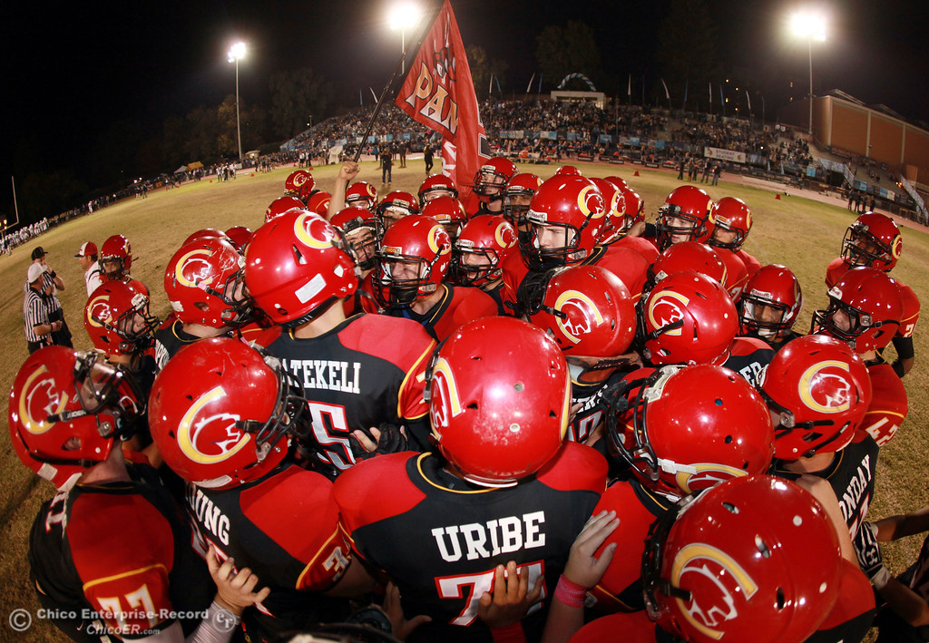 . Chico High readies against Pleasant Valley High in the first quarter of their Almond Bowl football game at CSUC University Stadium Friday, October 26, 2012 in Chico, Calif. (Jason Halley /Chico Enterprise-Record)