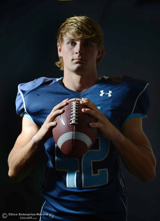 . Pleasant Valley High Chad Olsen is getting ready for the Almond Bowl during a photoshoot Wednesday, October 23, 2013 in Chico, Calif.  (Jason Halley/Chico Enterprise-Record)