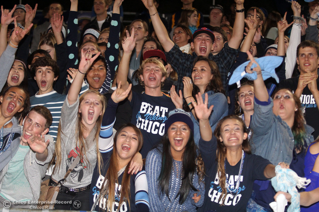 . Chico High against Pleasant Valley High fans cheer in the second quarter of their Almond Bowl football game at CSUC University Stadium Friday, October 26, 2012 in Chico, Calif. (Jason Halley /Chico Enterprise-Record)