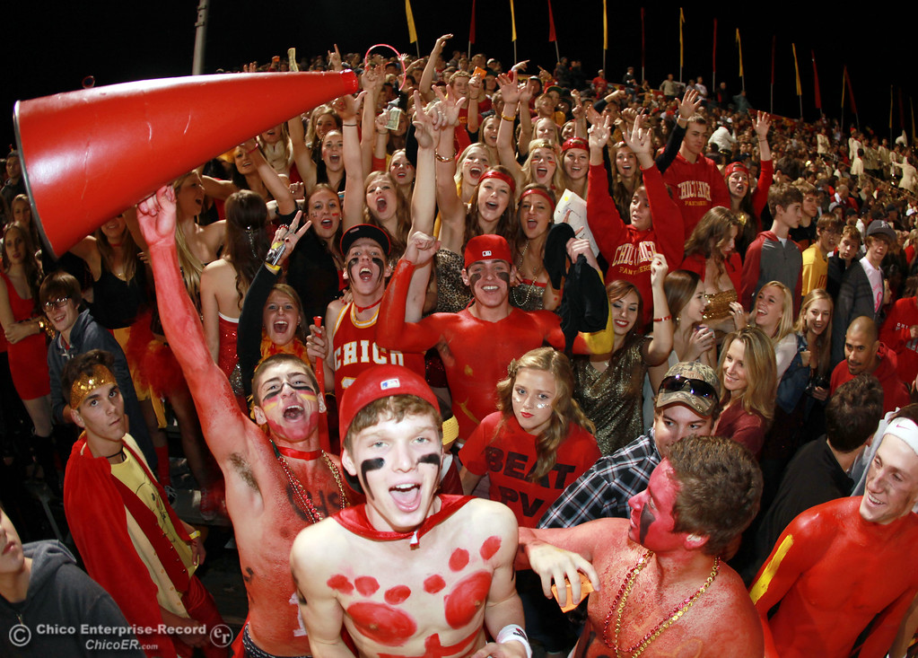 . Chico High fans cheer on the team against Pleasant Valley High in the second quarter of their Almond Bowl football game at CSUC University Stadium Friday, October 26, 2012 in Chico, Calif. (Jason Halley /Chico Enterprise-Record)