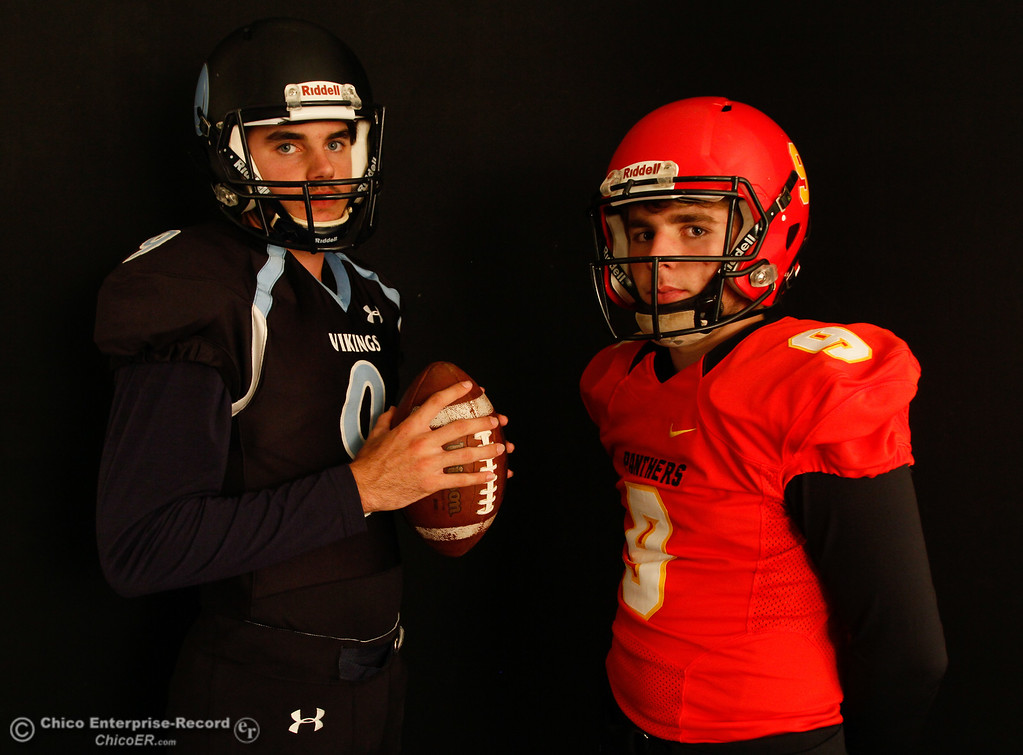 . Team quarterbacks and cross town rivals Kyle Linquest and Ty Polonsky will face off this Almond Bowl October 18, 2016 at the Enterprise-Record office in Chico, California. (Emily Bertolino -- Enterprise-Record)